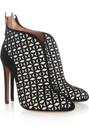 Alaia laser cut suede boots