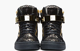 Guiseppe Zanotti Black and Gold Printed Python London Sneakers