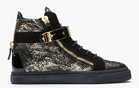 Guiseppe Zanotti Black and Gold Printed Python London Sneakers2