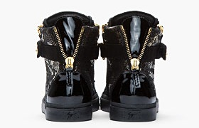 Guiseppe Zanotti Black and Gold Printed Python London Sneakers3