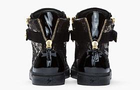 Guiseppe Zanotti Black and Gold Printed Python London Sneakers3