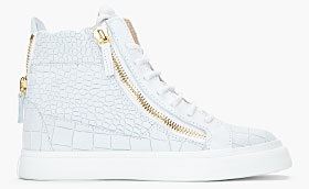 Guiseppe Zanotti Oyster grey croc-embossed leather London Sneakers