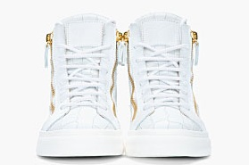 Guiseppe Zanotti Oyster grey croc-embossed leather London Sneakers2