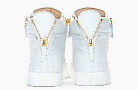 Guiseppe Zanotti Oyster grey croc-embossed leather London Sneakers3