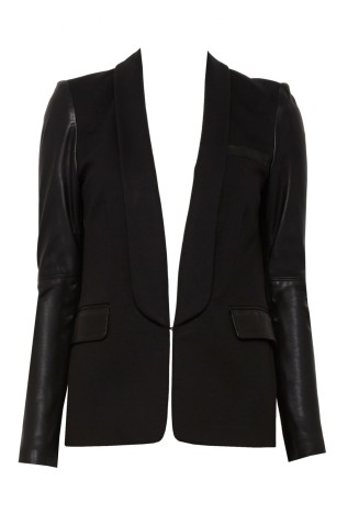 Alice + Olivia Hartley Blazer With Leather Sleeve