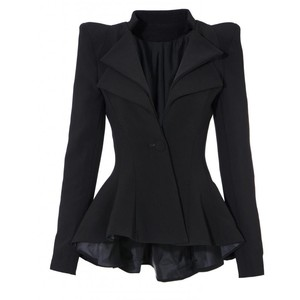 Lookbookstore Double Notch Lapel Sharp Shoulder Pad Asymmetry Blazer