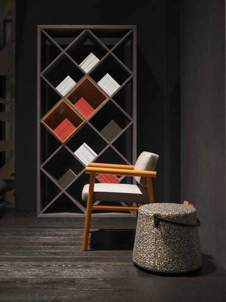 KK-Croix-bookshelf-Giop-chair-&-Rabat-pouf