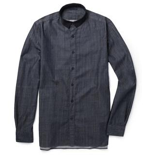 Lanvin grosgrain collar slim fit chambray shirt