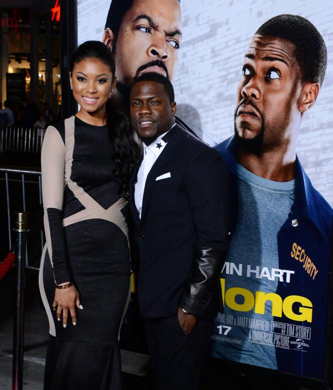 kevin hart and girlfriend eniko at ride along premiere