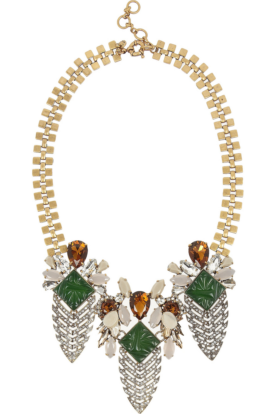 J Crew Arrowhead gold-tone crystal and cubic zirconia necklace