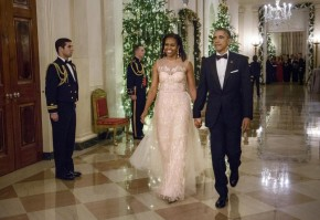 Michelle Obama Stuns in Monique Lhuillier Dress