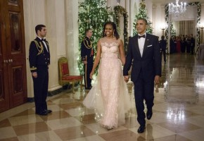Michelle Obama Stuns in Monique Lhuillier Dress